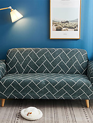 Недорогие -чехлы на диван чехлы из окрашенной пряжи полиэстера / хлопка / стильный серый и белый геометрический / линия дивана