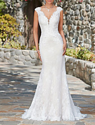 cheap -Mermaid / Trumpet Wedding Dresses V Neck Sweep / Brush Train Lace Cap Sleeve Glamorous Sexy Illusion Detail with 2021