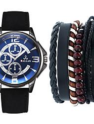 cheap -Men's Sport Watch Quartz Leather Black / Brown / Grey No Chronograph Cute Creative Analog New Arrival Fashion - Coffee Brown Black / White One Year Battery Life