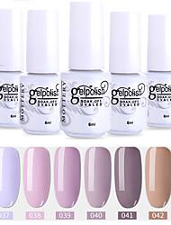 abordables -6 pcs couleur 37-42 xyp uak / led gel vernis à ongles couleur solide ensembles de vernis à ongles de couleur
