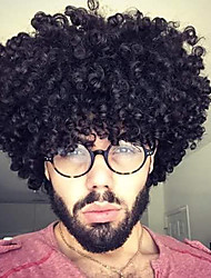 cheap -Synthetic Wig Toupees Curly Afro Curly Free Part Wig Short Natural Black Synthetic Hair 12 inch Men's Heat Resistant Classic Synthetic Black
