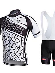 cheap -FUALRNY® Men's Short Sleeve Cycling Jersey with Bib Shorts Black / White Black / Yellow Bike Moisture Wicking Quick Dry Sports Patchwork Mountain Bike MTB Road Bike Cycling Clothing Apparel