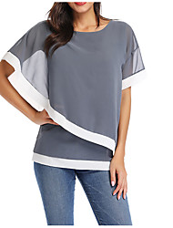 cheap -Women's Plus Size Solid Colored Patchwork Loose Blouse Basic Daily Wear Black / Navy Blue / Gray