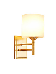 cheap -Glass Wall Lamp Matte White Shade Vintage Corridor Hallway Wall Sconces Metal Based Bedside Sofaside Reading Light Wall Mount Brass Lampbody