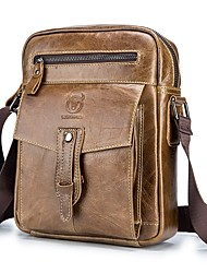 cheap -Men's Bags Cowhide Shoulder Messenger Bag Crossbody Bag Zipper Solid Color Daily Outdoor MessengerBag Black Yellow Brown