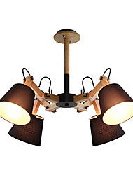 cheap -4-Light Nordic Simple Pendant Light Sputnik Chandelier 4 Lights Ceiling Lamp Semi Flush Mount with Swing Arms Fabric Lampshade Ambient Light Painted Finishes Wooden
