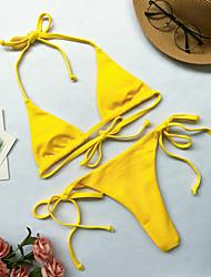 cheap -Women's Sporty Basic Black Red Yellow Halter Tie Side Bikini Swimwear - Solid Colored Lace up S M L Black