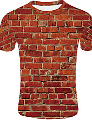 cheap -Men's Daily Wear Basic EU / US Size T-shirt - 3D Round Neck Orange / Short Sleeve