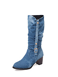 cheap -Women's Boots Chunky Heel Round Toe Denim Mid-Calf Boots Fall & Winter Black / Blue
