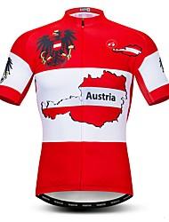 abordables -21Grams Homme Manches Courtes Maillot Velo Cyclisme Rouge L'Autriche Drapeau National Cyclisme Maillot Hauts / Top VTT Vélo tout terrain Vélo Route Respirable Evacuation de l'humidité Séchage rapide