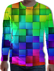 cheap -Men's Plus Size Geometric 3D Black & White Pleated Print Tunic Street chic Exaggerated Daily Round Neck Rainbow / Long Sleeve