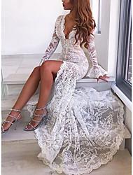 Недорогие -Жен. Для вечеринок Элегантный стиль Оболочка Платье Кружева Глубокий V-образный вырез Макси / Сексуальные платья