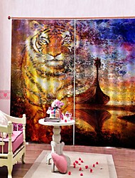 cheap -3D PVC Digital Printing Tiger Luxury Window Curtains Stock Lots Drapes Blackout 100% Polyester Fabric Office / Living Room / Hotel