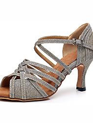 cheap -Women's Dance Shoes Nylon / Synthetics Latin Shoes Heel Cuban Heel Customizable Silver / Blue / Performance / Leather / Practice