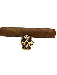 cheap -LUBINSKI Retro Skull Cigar Holder Bracket Large Caliber Trough  Ring Cigar Accessories Home Desk Decoration