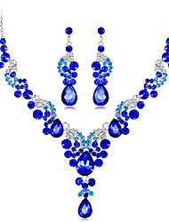 cheap -Women's Blue Red White Crystal Necklace Earrings Chandelier Star Botanical Pear Luxury Dangling Vintage Bohemian Gypsy Earrings Jewelry bright red / White / Royal Blue For Christmas Wedding Party