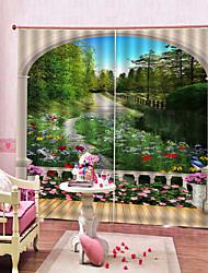 Недорогие -природные пейзажи 3d четкая печать сильная прочность толстая водонепроницаемая плотная шторка полиэстер занавес для ванной комнаты / гостиной