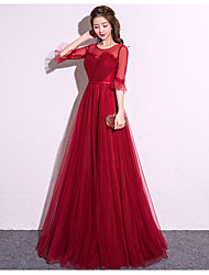 cheap -A-Line Elegant Minimalist Prom Dress Jewel Neck 3/4 Length Sleeve Floor Length Satin Tulle with 2020