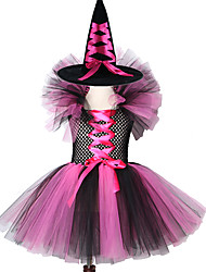 cheap -Kids Gilrs Witch Tutu Dress Thanksgiving Skirt with Hat Fairywand Halloween Cosplay Costume Full Sets