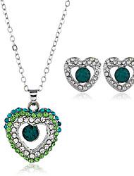 cheap -Women's Cubic Zirconia Stud Earrings Pendant Necklace Classic Heart Classic Vintage European Rhinestone Earrings Jewelry White / Purple / Yellow For Party Work Festival 3pcs