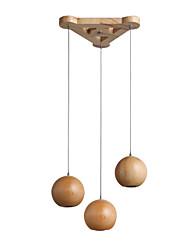 Недорогие -Кластер Люстра Подвесной светильник Nordic Простые подвесные светильники Твердая древесина Подвесные светильники Окрашенные отделки Сферические подвесные светильники для обеденного стола Фойе