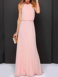 cheap -Women's Maxi long Dress Dusty Rose Swing Dress - Sleeveless Solid Colored Pleated Summer Halter Neck Sophisticated Cocktail Party Prom Belt Not Included Loose White Black Light Green Pink S M L XL XXL
