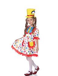 cheap -Burlesque Clown Cosplay Costume Kid's Girls' Halloween Festival Halloween Festival / Holiday Terylene White Carnival Costumes Geometric