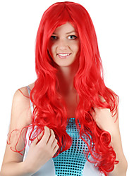 cheap -Cosplay Costume Wig Synthetic Wig Ariel Mermaid Curly Side Part Wig Long Black / Red Synthetic Hair 28 inch Women's Fashionable Design Party Women Red