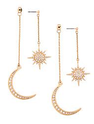 cheap -Women's Clear Cubic Zirconia Drop Earrings Earrings Vintage Style Moon Star Moon Phase Statement Dangling Trendy Fashion Boho Imitation Diamond Earrings Jewelry Gold For Party Gift Carnival Street