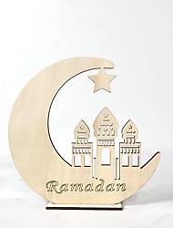 cheap -Muslim Eid Mubarak Wooden Hollow Moon Shape Decor Furniture Article Ornament
