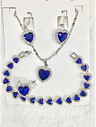 cheap -Women's Blue Cubic Zirconia Pendant Necklace Bridal Jewelry Sets Two tone Heart Joy Happy Dainty Luxury Classic Sweet Elegant Silver Plated Earrings Jewelry Silver For Wedding Party Engagement Gift
