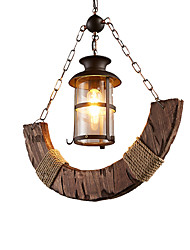 Недорогие -Промышленная подвесная люстра с декором из пеньковой веревки 1 светильники Подвесные светильники в деревенском стиле