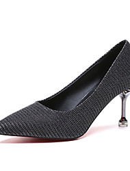 cheap -Women's Heels Kitten Heel Pointed Toe PU Casual Summer Black / Gold / Red / Daily