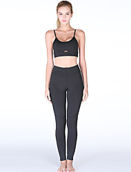 cheap -Women's Cut Out Yoga Suit Solid Color Elastane Yoga Running Fitness Clothing Suit Sleeveless Activewear Breathable Moisture Wicking Quick Dry Micro-elastic Slim