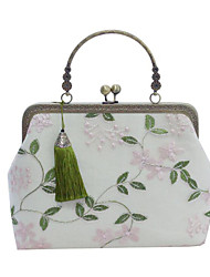 cheap -Women's Bags Polyester Evening Bag Embroidery Chain Embroidery Floral Print Wedding Bags Wedding Party Event / Party Green