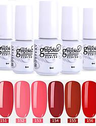 abordables -vernis à ongles 6 pcs couleur 151-156 xyp soak-off uv / led gel vernis à ongles couleur unie vernis à ongles ensembles