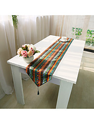 cheap -National Cotton Linen Stripes Table Runner Table Flag with Tassel  for Home Table Decoration