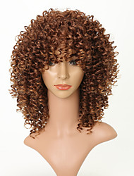 cheap -Synthetic Wig Afro Afro Curly With Bangs Wig Short Dark Auburn Synthetic Hair 16 inch Women's Party Women Youth Light Brown Brown