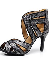 cheap -Women's Dance Shoes Synthetics Latin Shoes Splicing Heel Slim High Heel Customizable Black / Performance
