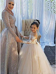 cheap -Ball Gown Sweep / Brush Train Flower Girl Dress - Lace / Satin / Tulle Long Sleeve Boat Neck with Appliques / Lace / First Communion
