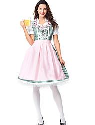 cheap -Oktoberfest Beer Outfits Dirndl Trachtenkleider Women's Dress Apron Bavarian Costume Blushing Pink