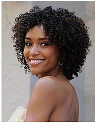 Недорогие -человеческие волосы Remy Полностью ленточные Парик стиль Бразильские волосы Афро Квинки Мелкие кудри Нейтральный Черный Парик 130% 150% Плотность волос