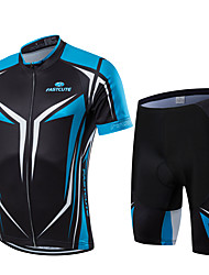 cheap -Men's Short Sleeve Cycling Jersey with Shorts Black Bike Clothing Suit Breathable Moisture Wicking Quick Dry Anatomic Design Sports Geometry Mountain Bike MTB Road Bike Cycling Clothing Apparel