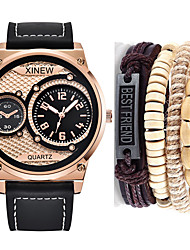 cheap -Men's Sport Watch Quartz Leather Black / Brown / Chocolate No Chronograph Cute New Design Analog Outdoor New Arrival - Coffee Brown Black / Rose Gold One Year Battery Life