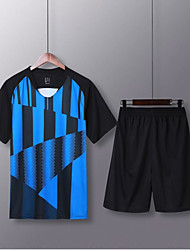 cheap -Men's Soccer Soccer Jersey and Shorts Clothing Suit Breathable Sweat-wicking Team Sports Active Training Football Stripes Polyester Adults Black / Blue