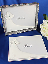 cheap -Bride and Groom White Wedding Guest Book Engagement Anniversary Guestbook Album Party Decor Supplies