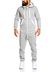 cheap -Men's Basic Hooded Black White Army Green Slim Jumpsuit Onesie, Solid Colored US38 / UK38 / EU46 US40 / UK40 / EU48 US42 / UK42 / EU50