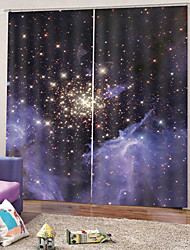 cheap -Blink Star Print Curtains Waterproof Mouldproof Polyester Bath Curtain Heat / Sound Insulation Blackout Curtains Fabric for Dedroom / Living Room