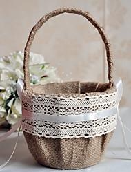 """cheap -Flower Basket Linen 8 3/5"""" (22 cm) Ruffle 1 pcs"""