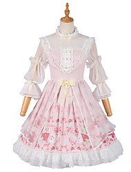cheap -Sweet Lolita Princess Lolita Country Lolita Dress Cosplay Costume Party Costume Masquerade Girls' Female Japanese Cosplay Costumes Pink Lace Flower Juliet Sleeve 3/4 Length Sleeve Medium Length